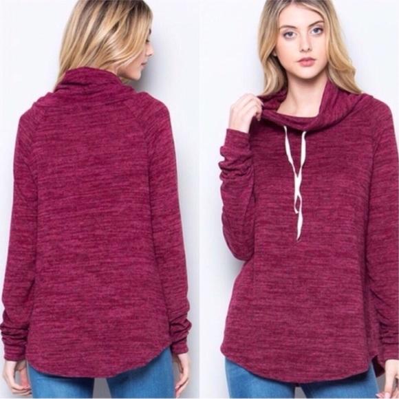 Sweaters - Burgundy Cowl Neck Sweater